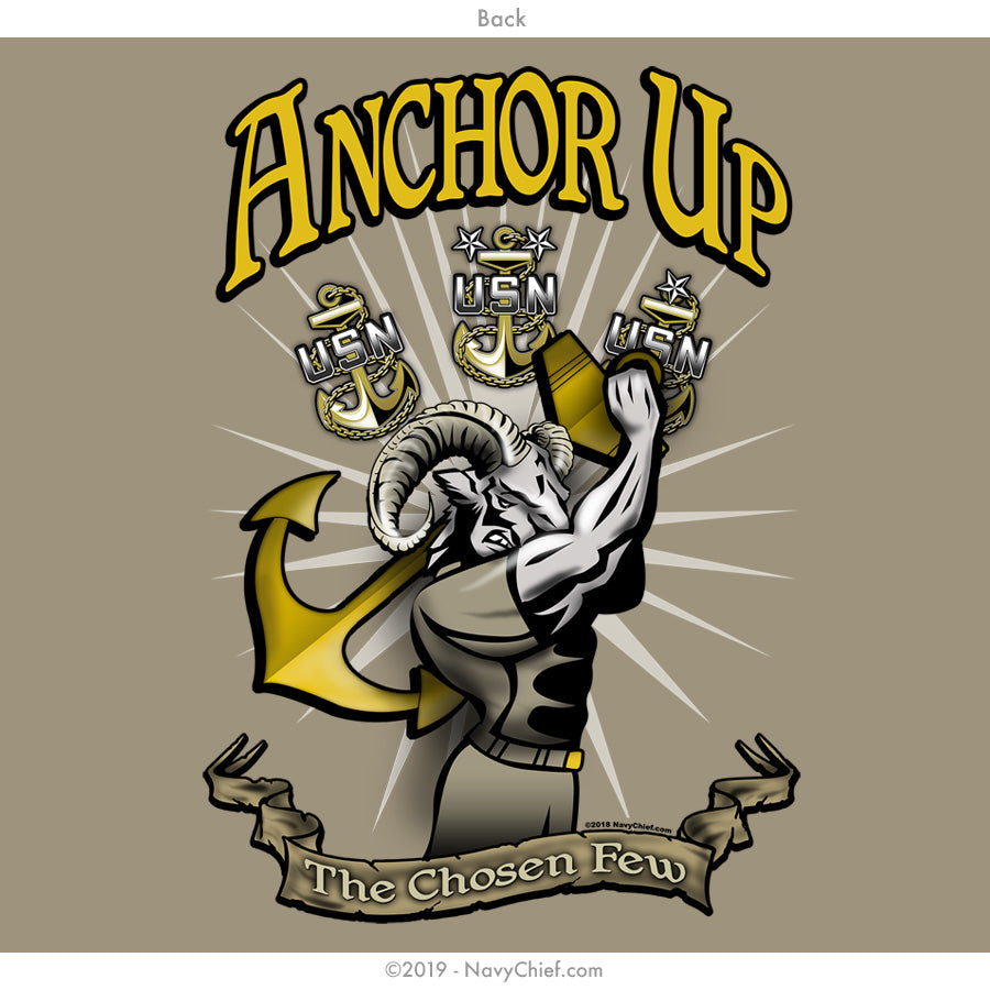"""Anchor Up"" Goat Long Sleeve Tee, Khaki - NavyChief.com - Navy Pride, Chief Pride."