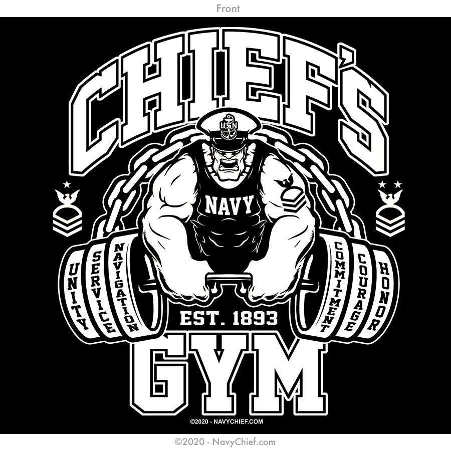 """Chief's Gym"" Long Sleeve Tee, Black"