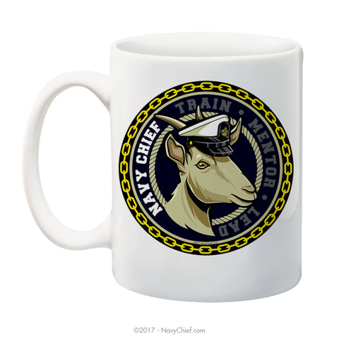 """Train-Mentor-Lead"" (Female Goat) 15 oz Coffee Mug - NavyChief.com - Navy Pride, Chief Pride."