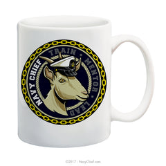 """Train-Mentor-Lead"" Female Goat - 15 oz Coffee Mug - NavyChief.com - Navy Pride, Chief Pride."