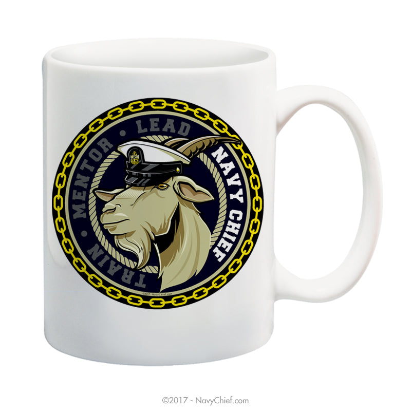 """Train-Mentor-Lead"" (Male Goat) 15 oz Coffee Mug - NavyChief.com - Navy Pride, Chief Pride."