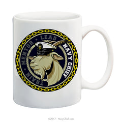 """Train-Mentor-Lead"" Male Goat - 15 oz Coffee Mug - NavyChief.com - Navy Pride, Chief Pride."
