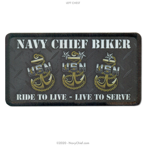 """Navy Chief Biker"" Dickies Work Shirt, Black - NavyChief.com - Navy Pride, Chief Pride."