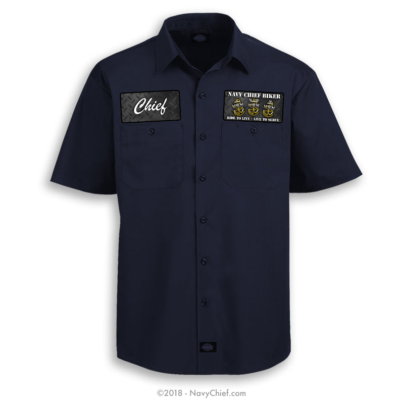 """Navy Chief Biker"" - Dickies Work Shirt - NavyChief.com - Navy Pride, Chief Pride."