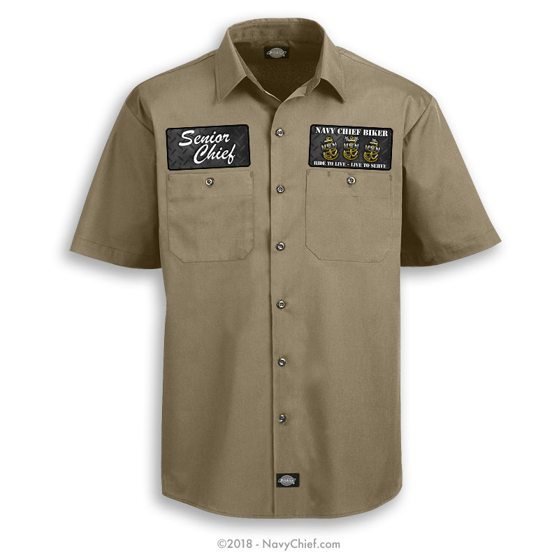 """Navy Chief Biker"" Dickies Work Shirt, Khaki - NavyChief.com - Navy Pride, Chief Pride."