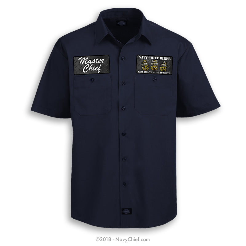 """Navy Chief Biker"" Dickies Work Shirt, Navy - NavyChief.com - Navy Pride, Chief Pride."
