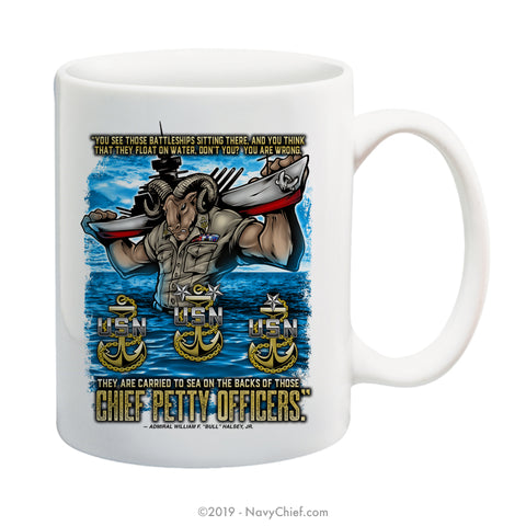 """Carried to Sea"" 15 oz Coffee Mug - NavyChief.com - Navy Pride, Chief Pride."