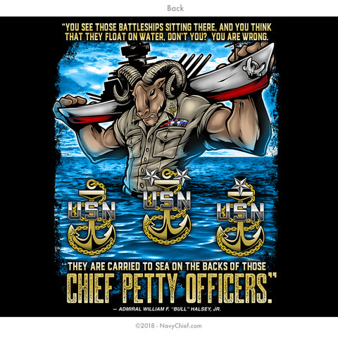 """Carried To Sea"" Long Sleeve Tee, Black - NavyChief.com - Navy Pride, Chief Pride."
