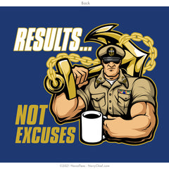 """Results. Not Excuses"" Tee - Cobalt"