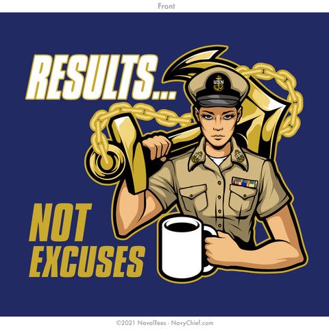 """Results. Not Excuses."" Ladies Tee - Indigo"