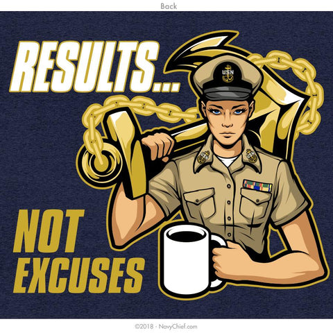 """Results - Not Excuses"" Ladies T-shirt, Heather Navy - NavyChief.com - Navy Pride, Chief Pride."