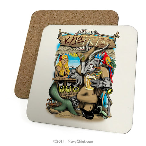 """Khaki Bar"" Drink Coasters"