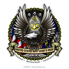 """CPO Eagle"" 12 oz Can Koozie - NavyChief.com - Navy Pride, Chief Pride."