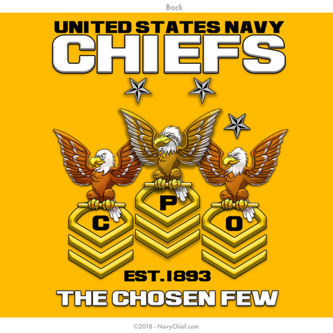 CPO Chevrons Long Sleeve Tee, Gold - NavyChief.com - Navy Pride, Chief Pride.