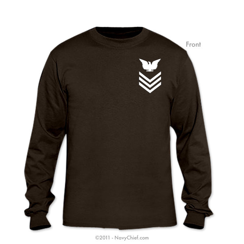 "U.S. Navy ""Enlisted Chevrons"" E-4, E-5, E-6, Long Sleeve Tee - NavyChief.com - Navy Pride, Chief Pride."