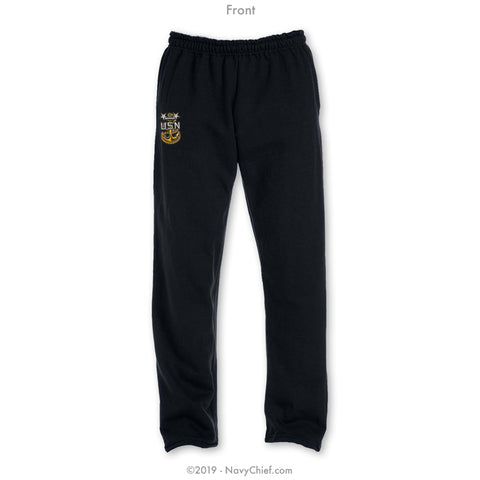 """Embroidered Anchor"" Sweatpants - Black"