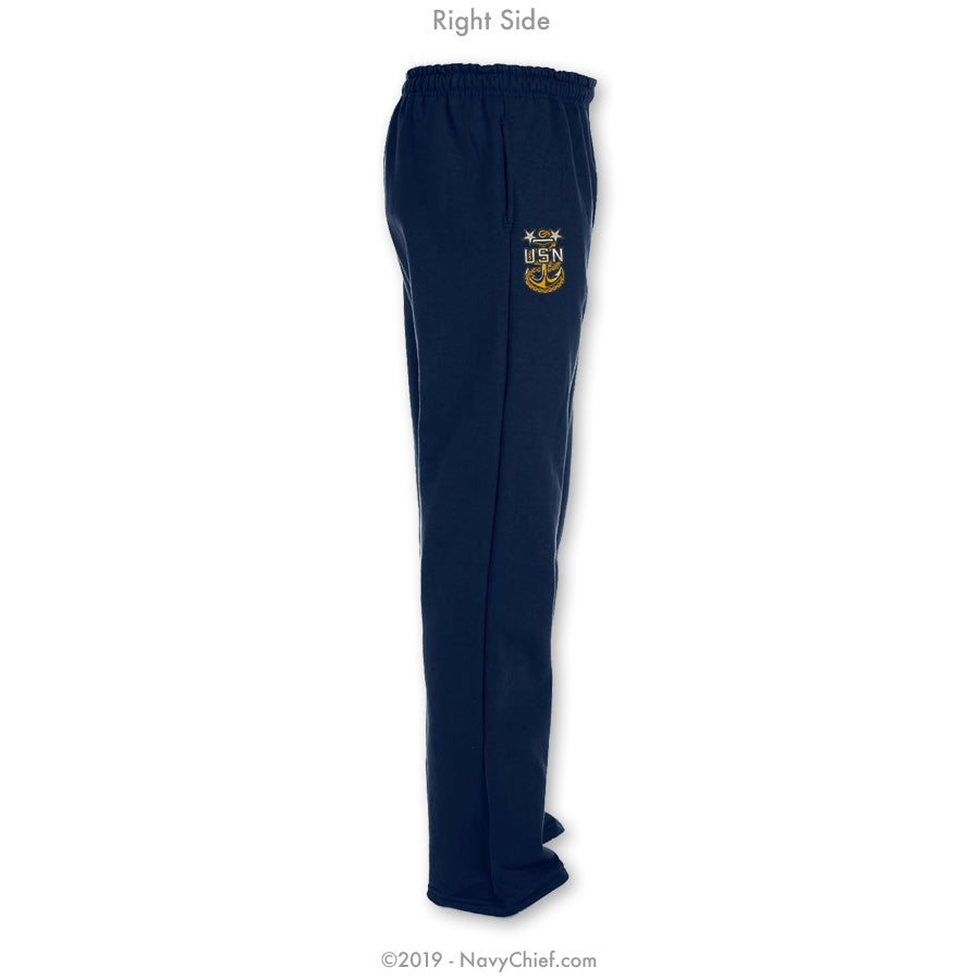 """Embroidered Anchor"" Sweatpants - Navy - NavyChief.com - Navy Pride, Chief Pride."