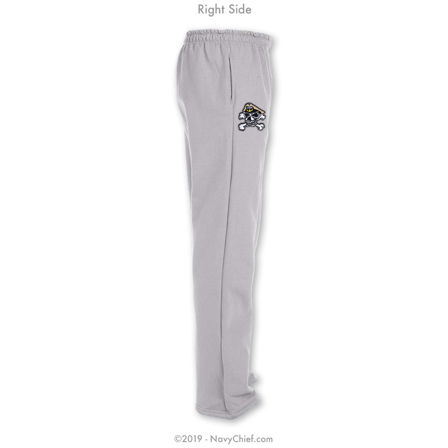 """Embroidered Skull"" Sweatpants - Grey - NavyChief.com - Navy Pride, Chief Pride."