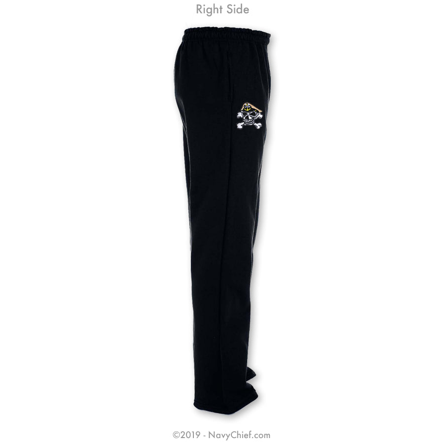 """Embroidered Skull"" Sweatpants - Black - NavyChief.com - Navy Pride, Chief Pride."