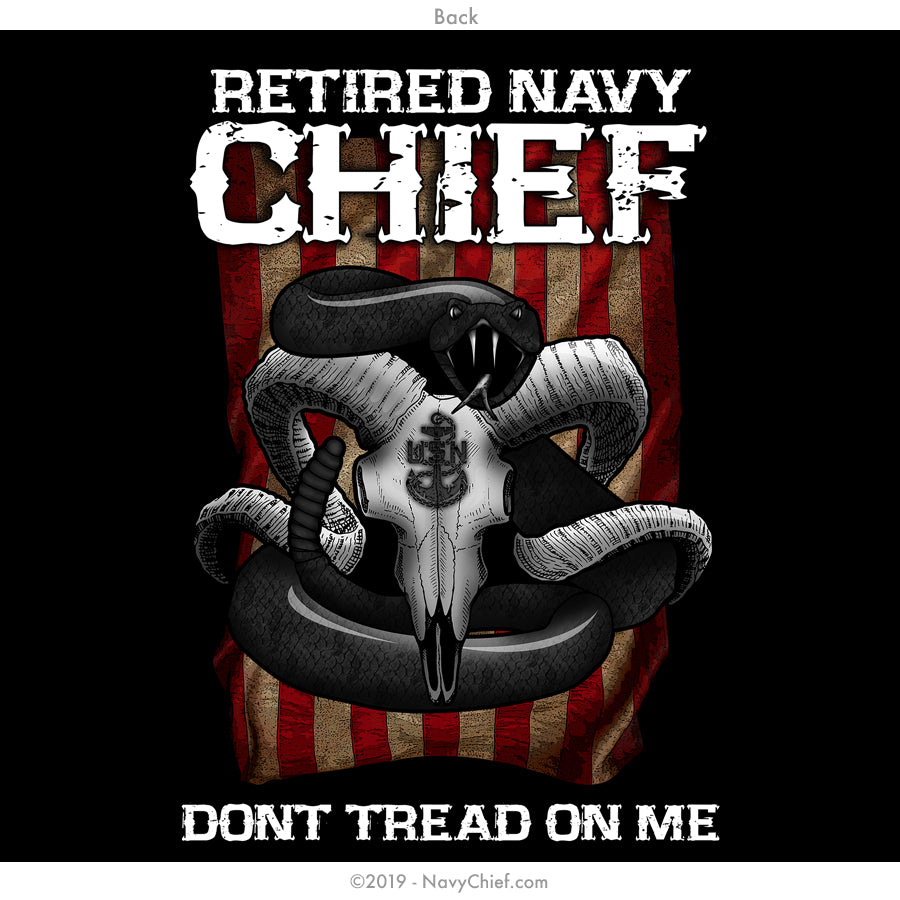 "Retired ""Dont Tread on Me"" T-Shirt, Black - NavyChief.com - Navy Pride, Chief Pride."