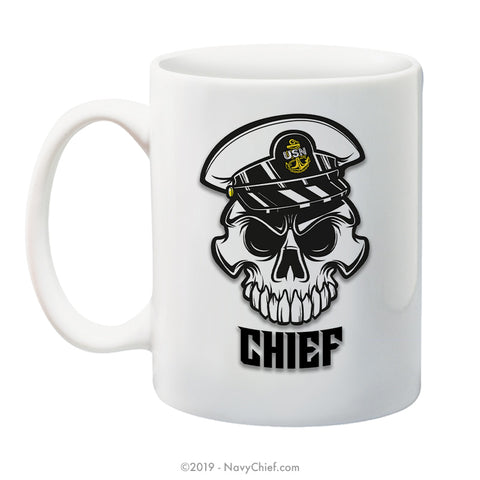 """Anchor Up"" CPO Skull - 15 oz Coffee Mug - NavyChief.com - Navy Pride, Chief Pride."