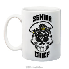 """Anchor Up"" SCPO Skull - 15 oz Coffee Mug - NavyChief.com - Navy Pride, Chief Pride."