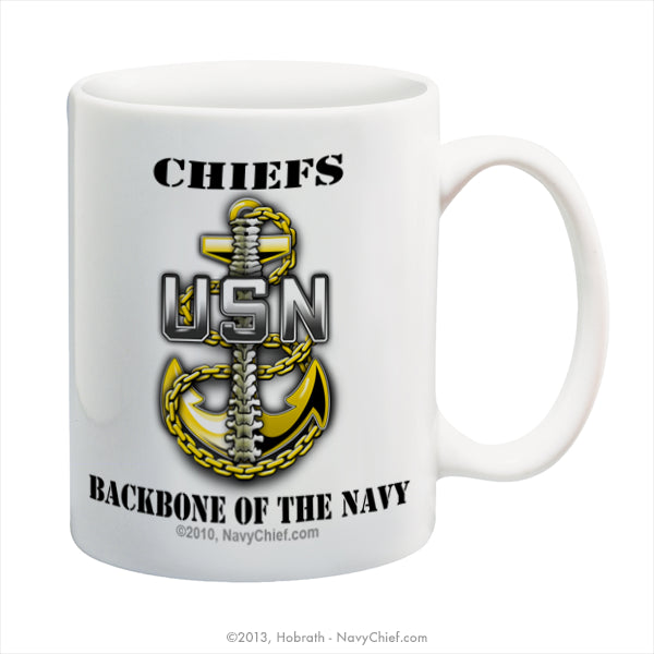 """Chiefs - Backbone of the Navy"" 15 oz Coffee Mug - NavyChief.com - Navy Pride, Chief Pride."