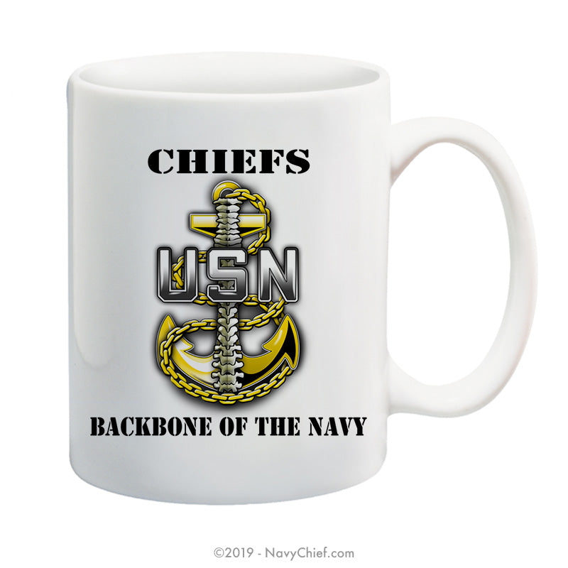 """Backbone"" - 15 oz Coffee Mug - NavyChief.com - Navy Pride, Chief Pride."