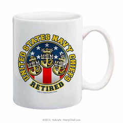 """United States Navy Chiefs - Retired"" 15 oz Coffee Mug"