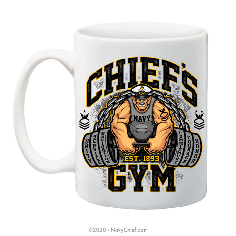 """Chiefs Gym"" - 15 oz Coffee Mug - NavyChief.com - Navy Pride, Chief Pride."