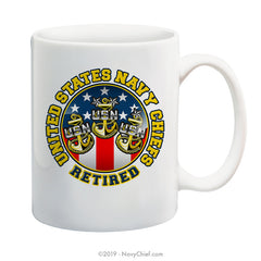 """USN Chiefs - Retired"" - 15 oz Coffee Mug - NavyChief.com - Navy Pride, Chief Pride."
