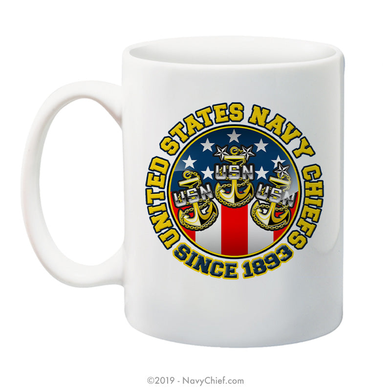 """USN Chiefs - Since 1893"" - 15 oz Coffee Mug - NavyChief.com - Navy Pride, Chief Pride."