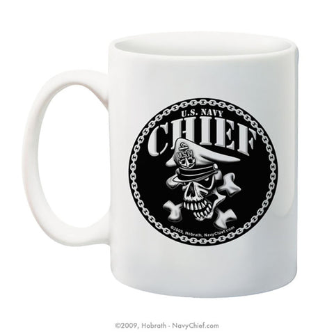 """Chief Skull and Crossbones"" 15 oz Coffee Mug - NavyChief.com - Navy Pride, Chief Pride."