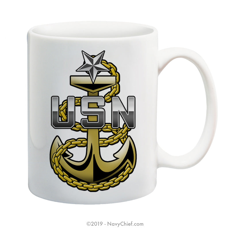"""Navy Senior Chief Fouled Anchor"" - 15 oz Coffee Mug - NavyChief.com - Navy Pride, Chief Pride."