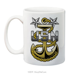 """Navy Master Chief Fouled Anchor"" - 15 oz Coffee Mug - NavyChief.com - Navy Pride, Chief Pride."