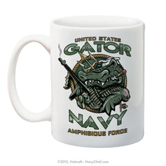"""U.S. Gator Navy Amphibious Force"" 15 oz Coffee Mug - NavyChief.com - Navy Pride, Chief Pride."