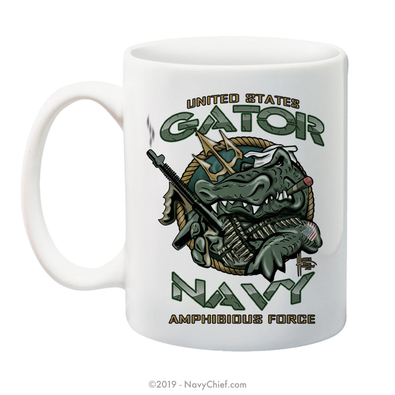 """U.S. Gator Navy Amphibious Force"" - 15 oz Coffee Mug - NavyChief.com - Navy Pride, Chief Pride."