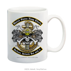 """United States Navy Chiefs - Hardcore. Initiated. Deal with it."" 15 oz Coffee Mug - NavyChief.com - Navy Pride, Chief Pride."