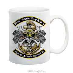 """Hardcore. Initiated. Deal with it."" (H.I.D.) - 15 oz Coffee Mug - NavyChief.com - Navy Pride, Chief Pride."