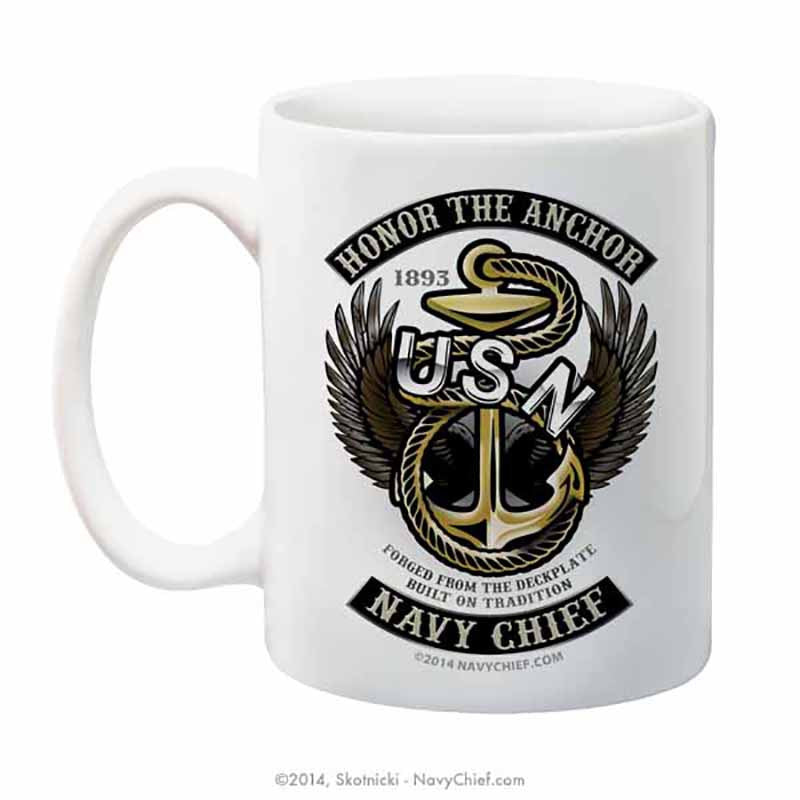 """Honor the Anchor"" 15 oz Coffee Mug - NavyChief.com - Navy Pride, Chief Pride."