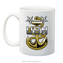 """Navy Master Chief Fouled Anchor"" 15 oz Coffee Mug - NavyChief.com - Navy Pride, Chief Pride."