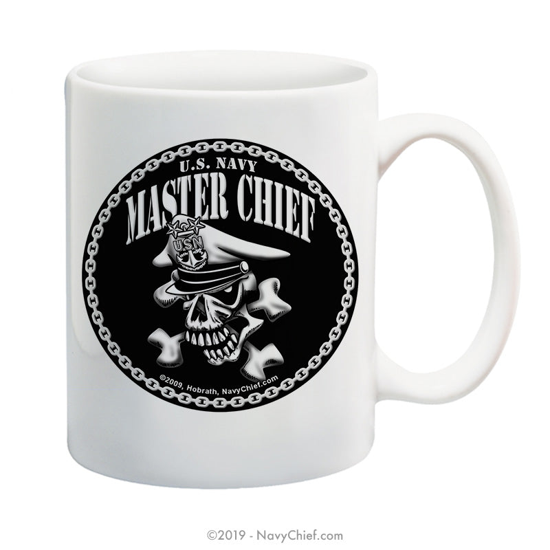 """Master Chief Skull and Crossbones"" - 15 oz Coffee Mug - NavyChief.com - Navy Pride, Chief Pride."
