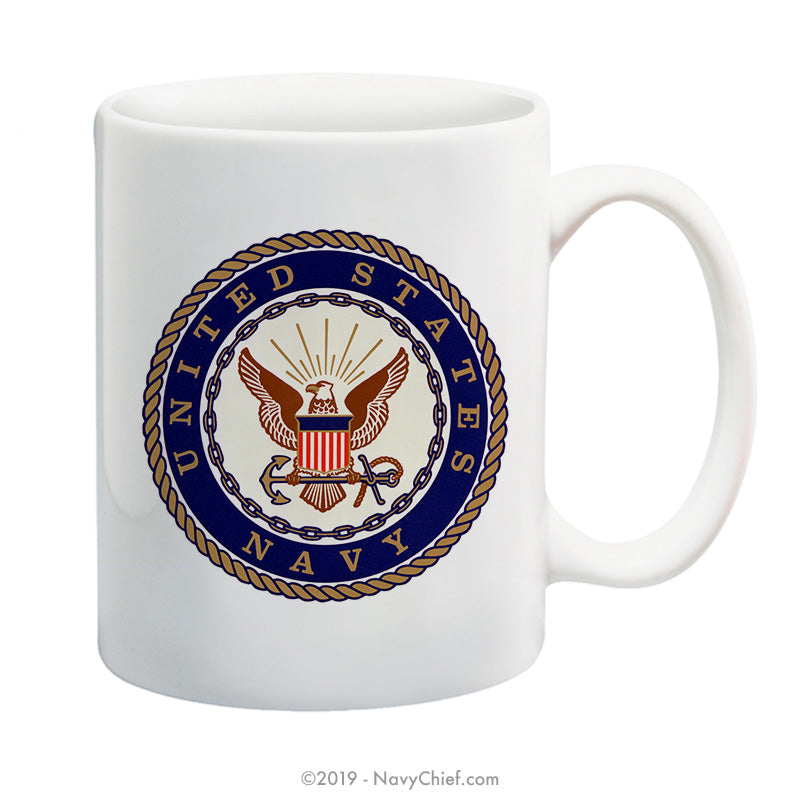 """Navy Emblem"" - 15 oz Coffee Mug - NavyChief.com - Navy Pride, Chief Pride."