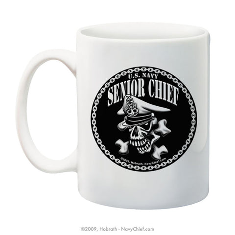 """Senior Chief Skull and Crossbones"" 15 oz Coffee Mug - NavyChief.com - Navy Pride, Chief Pride."
