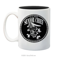 """Senior Chief Skull and Crossbones"" - 15 oz Black Deco Coffee Mug - NavyChief.com - Navy Pride, Chief Pride."