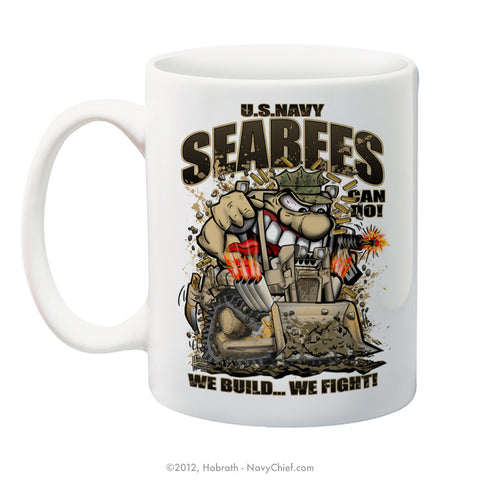 """U.S. Navy SeaBees - We build We Fight"" 15 oz Coffee Mug"