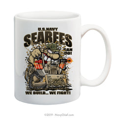 """SeaBees - We Build,We Fight!"" - 15 oz Coffee Mug - NavyChief.com - Navy Pride, Chief Pride."