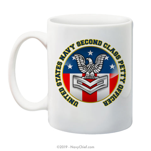 """USN Second Class Petty Officer"" - 15 oz Coffee Mug - NavyChief.com - Navy Pride, Chief Pride."