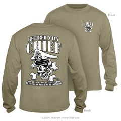 "Navy Chief ""Retired"" CPO/SCPO/MCPO Skull Long Sleeve T-shirt, Khaki"