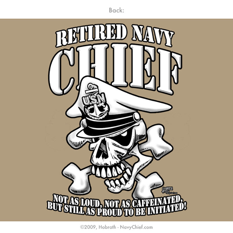 "Navy Chief ""Retired"" CPO/SCPO/MCPO Skull T-shirt, Khaki - NavyChief.com"